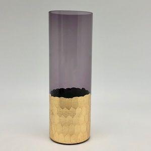 Purple tinted glass gold tall bud vase